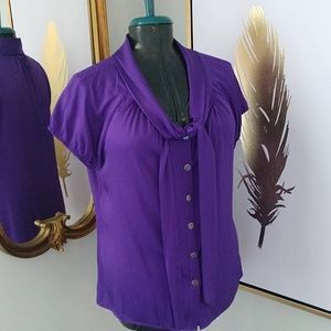 Antonio Melani Silk Tie Front Button Front Blouse